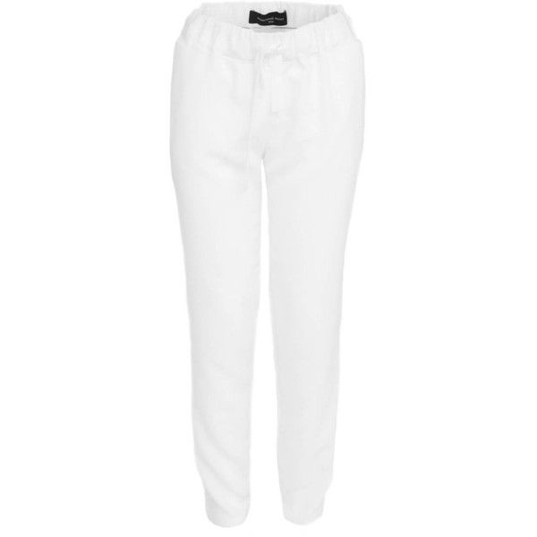 Women white sport chic pants Constance Boutet (245 CAD) ❤ liked on Polyvore featuring pants, sport pants, sports pants, sport trousers, sports trousers and white pants