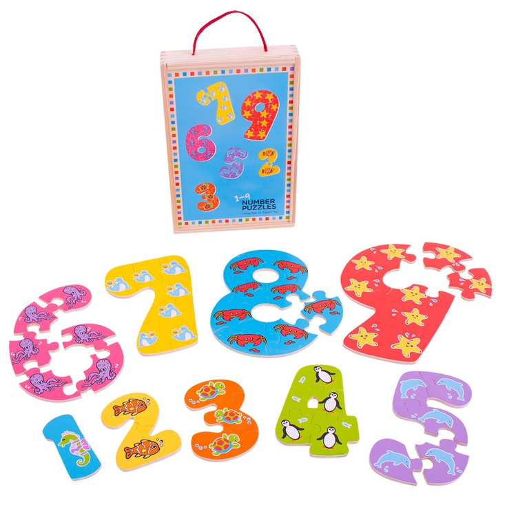A creative and absorbing way to introduce numbers and counting. Each of the nine puzzles divides into the same number of pieces it represents, so there are seven pieces making up the number 7, four making up 4, and so on. All the pieces fit into a handy, wooden storage box. Helps to develop counting, co-ordination and numerical skills. 45 puzzle pieces. Ages 3 years and up. http://www.shop.bigjigstoys.us/products/productdetail/part_number=BJ507/12465.1.1.1