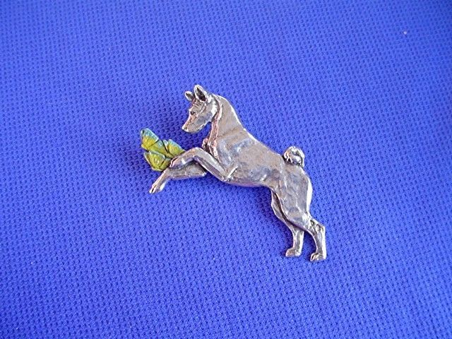 Basenji Pin Butterflies #40i Pewter Sighthound Dog Jewelry by Cindy A. Conter