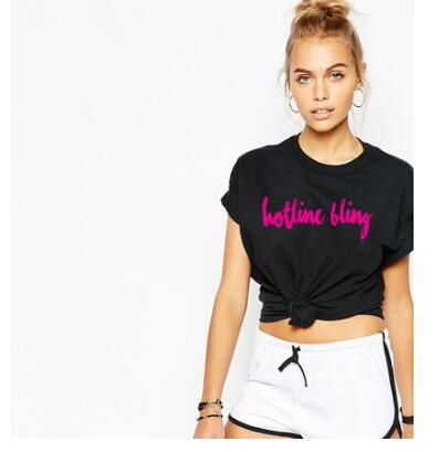 >> Click to Buy << Fashion Clothing Casual Short Sleeve Tees Shirt Hotline Bling Pink Letter T-Shirt O-Neck Cotton tshirts Girl Crewneck C #Affiliate