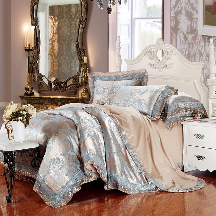 Camel and Steel Blue Fern Pattern Shabby Chic Rustic Style Lace Edge Jacquard Design Full, Queen Size Bedding Sets