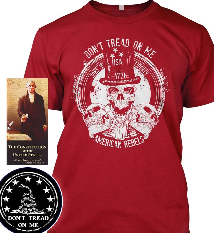 "Bundle of 3 items. Don't Tread on Me: American Rebels Red T-Shirt 3XL. Made . Bundle of 3 items: T-shirt, Pocket Constitution & 4.5"" decal. Official Sons of Liberty Tees® Gear. Made in the USA. Patriotic Biker T-Shirts. Screen Printed on a Bayside Brand™ MADE IN AMERICA T-Shirt. Design printed on front of t-shirt. 6.1 oz. 100% Pre-Shrunk American Made Cotton Tee. Premium Cotton Tee. Liberty, Second Amendment, and Patriot Apparel/T-Shirts - made by a small American owned business, by a…"