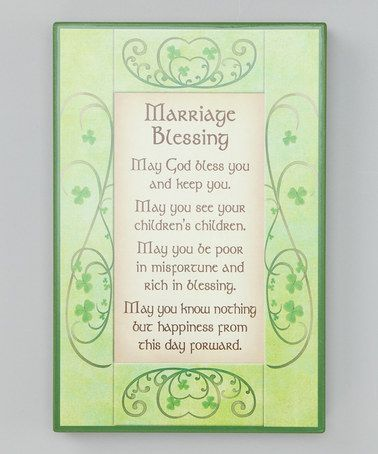 Take a look at this Irish Marriage Blessing Sign by Roman, Inc. on #zulily today!