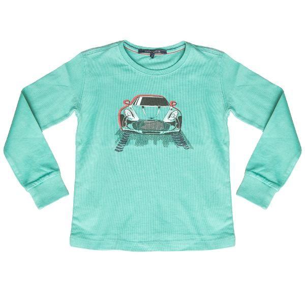 O culoare mai putin tipica pentru baieti este turcoazul pe care il vedeti in imagine. Imprimeul este tipic celor de la Aston Marin: imaginea unui oras si a unei masini, iar materialul este placut si de calitate superioara. Nimic nu este prea bun pentru micuti!
