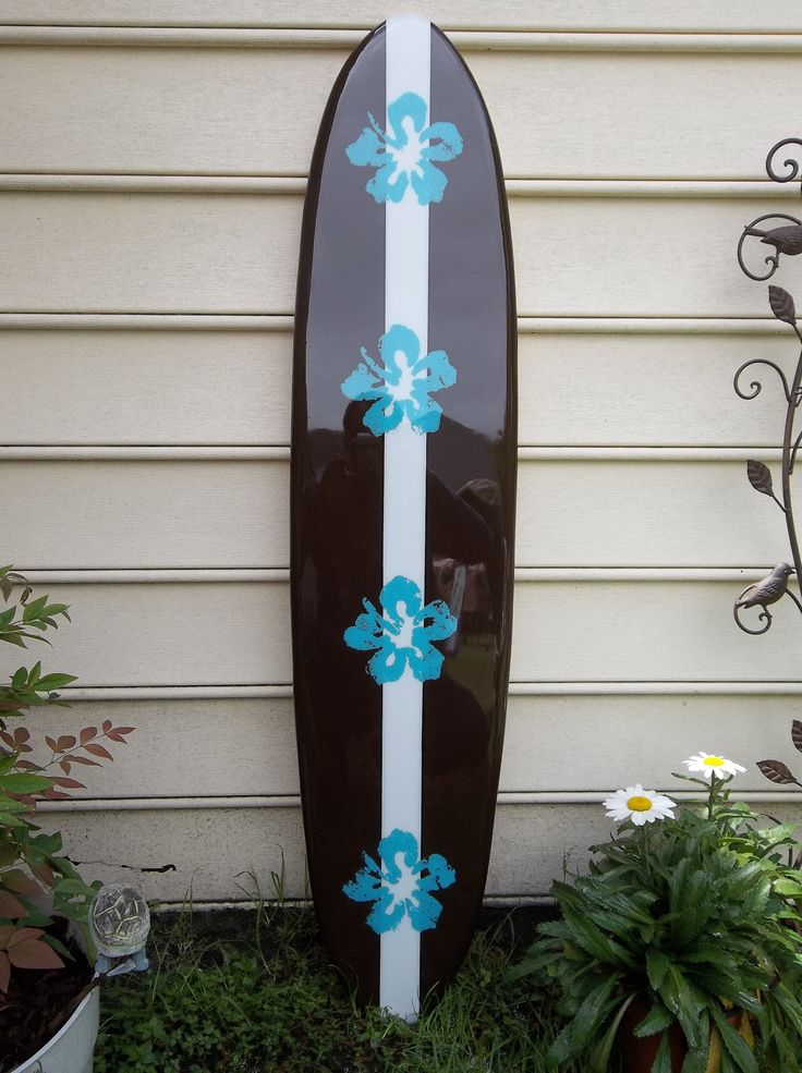Hawaiian Surfboard Wall Hanging, Four Foot Wall Decor, Surfboard Wall Art,  Caribbean Hibiscus