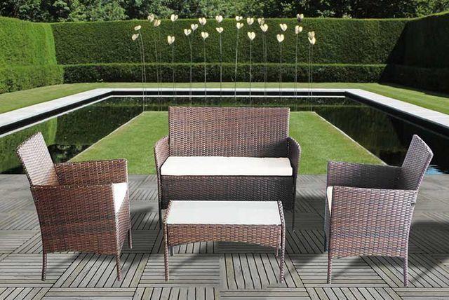 4pc Rattan Garden Furniture Set - 3 Colours!
