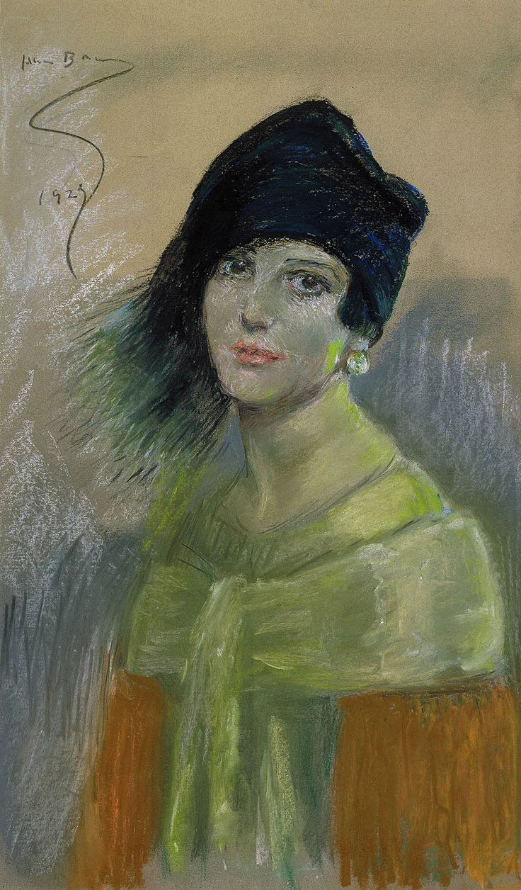 Young Woman in Black Hat by Alice Pike Barney