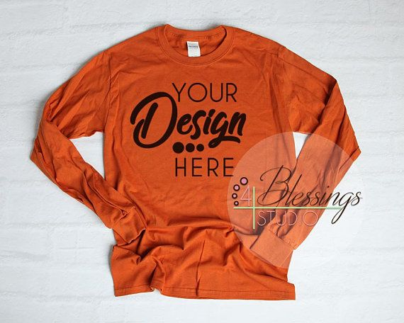 Download Download Free Long Sleeve T Shirt Mockup Unisex Shirt Texas Orange Gildan Psd Free Psd Mockups Shirt Mockup Clothing Mockup Mockup Free Psd