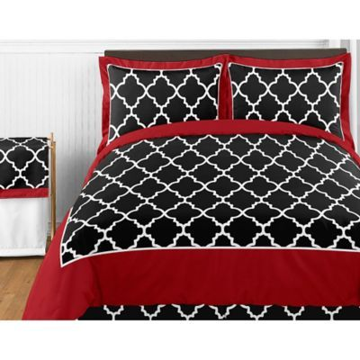 Trellis collection from Sweet Jojo Designs features a trellis pattern  in chic black and white  with basic black for contrast  It will give any  bedroom a. 25  trending Red Bedding Sets ideas on Pinterest   Red beds  Red