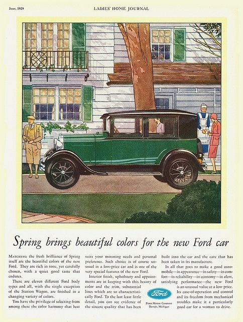 Ladies Home Journal, June 1929, Model A Ford Fordor Sedan Magazine Ad, via Flickr.