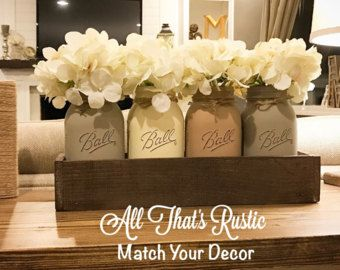 Large Mason Jar Centerpiece Table Centerpiece Table Decor