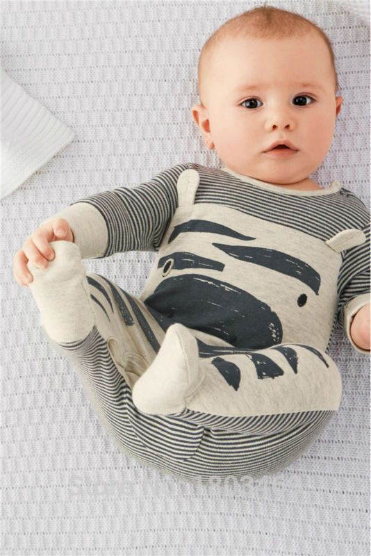 Zebra gray long-sleeved baby rompers +hat baby clothing set