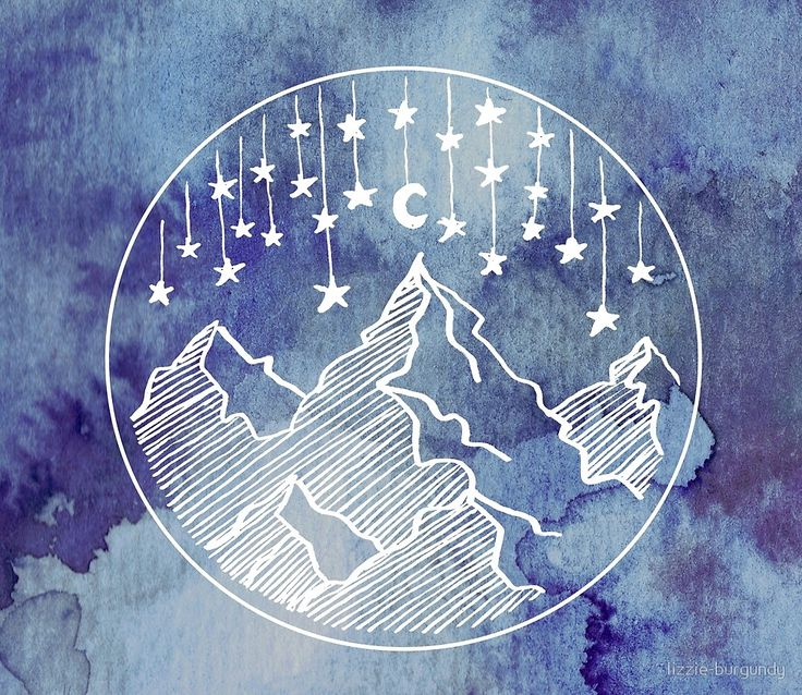 Watercolor Mountains and Stars  von lizzie-burgundy