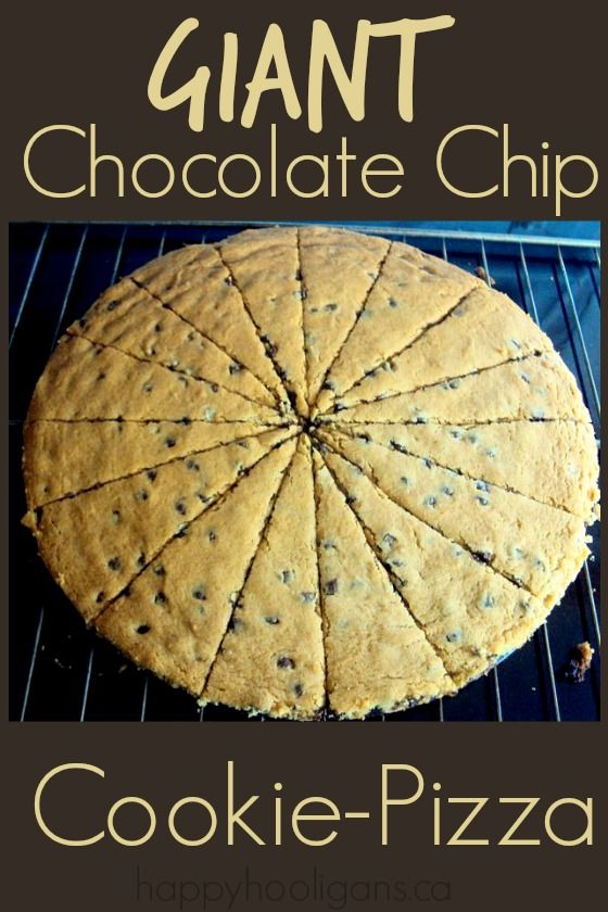Giant Chocolate Chip Cookie Pizza - an easy and delicious alternative to birthday cake!  Feeds 16, 10 minute prep and 1 bowl to wash up! - Happy Hooligans