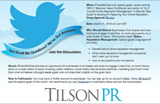 Join us 3/21 @2pm EST for our #TilsonBizChat with award winning author Craig Agranoff (@Lapp) to discuss Online Reputation Management.