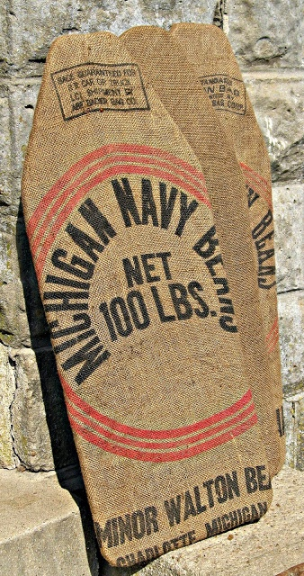 primitive burlap sack ironing board cover - love this!