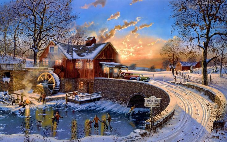 Zima, Most, Młyn Wodny, Łyżwy