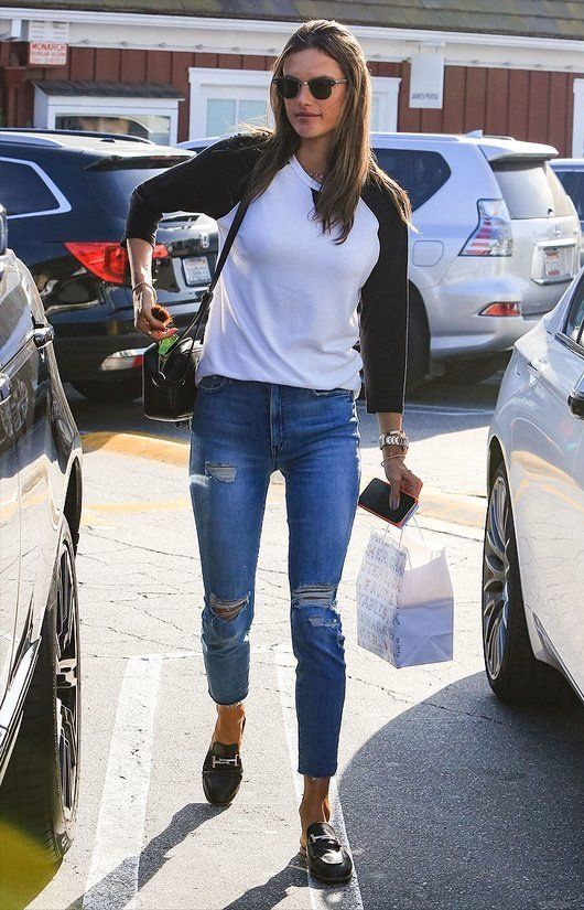 720a0881bd Alessandra Ambrosio wears Meghan Markle s favorite jeans - click through to  shop the style!