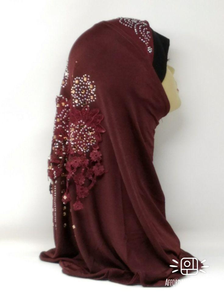 Amour Al Amira Hijab $24.99 Amour Al Amira Hijab with beautiful Lace Applique And Rhinestone 1pc Maroonhttps://store13211292.ecwid.com/#!/Amour-Al-Amira-Hijab/p/101697787