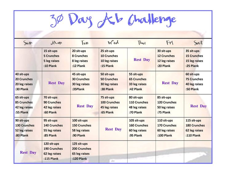 30 day ab challenge for women - Google Search: