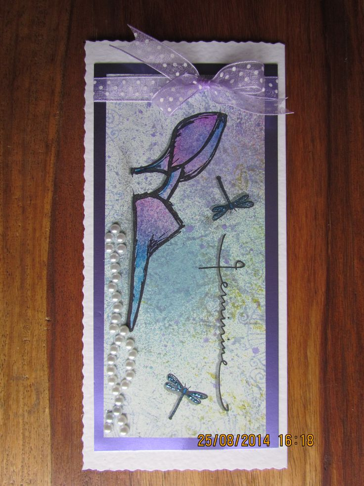 This is my August 2014 Clarity Stamp Challenge entry made with the elegant  shoe, Feminine & dragonfly stamps on a piece of backing card made using Cosmic Shimmer spray inks and Adironacks.  The shoe is coloured using blue, purple & pink watercolour pencils & the dragonflies have a little glitter, the string of pearls add a bit of elegance!