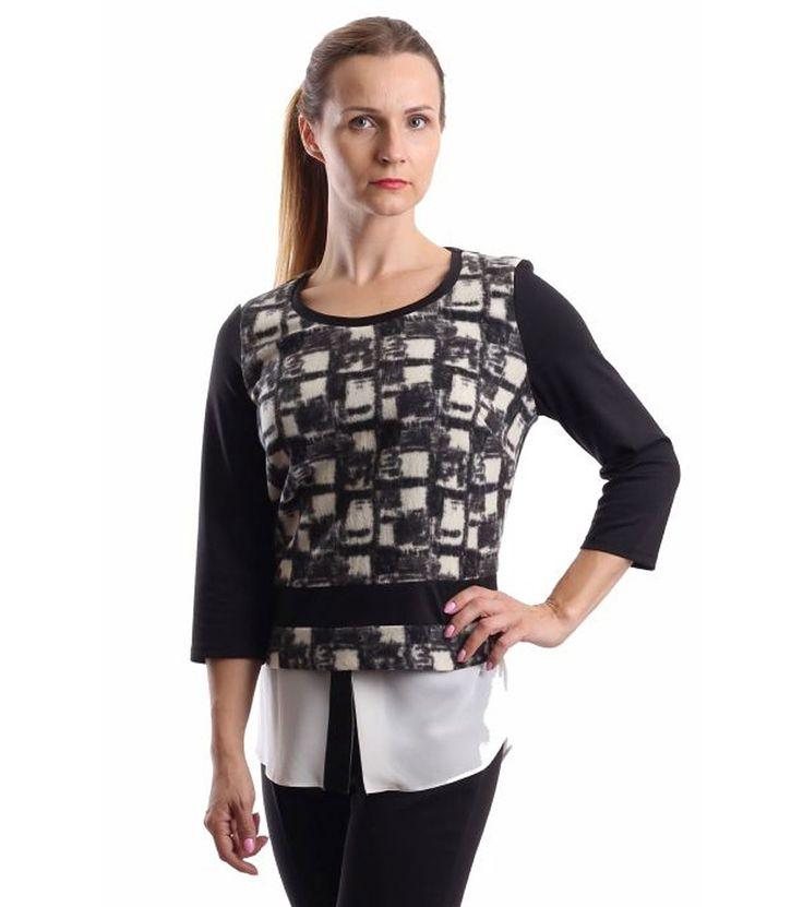 FashionSupreme - Bluză în culori negru și crem - Haine de damă - Bluze - Margo Collection - mereu la modă. Haine şi accesorii de marcă. Haine de designer.