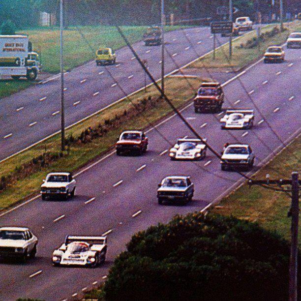 1984 Sandown 1000 where the Porsche team drove their 956 cars to the circuit on the open road