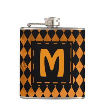 Black & Orange Diamond Monogram Flask - monogram gifts unique design style monogrammed diy cyo customize