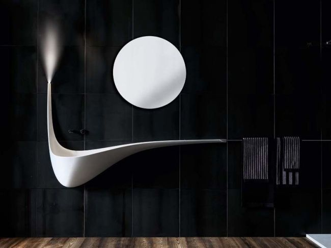 The sink shaped like a bird's wing  #creative #interior #design