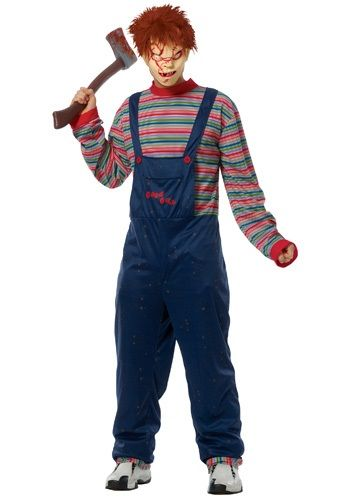Wanna play? This Adult Chucky Costume is a very scary costume for men.