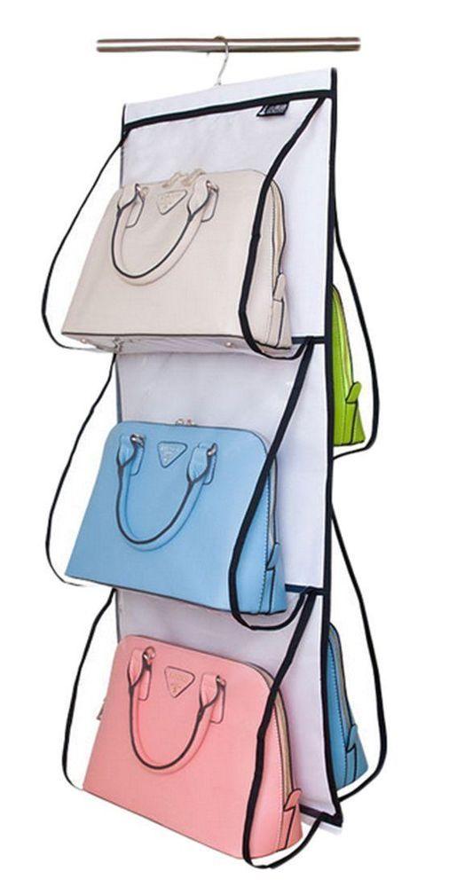 Hanging Handbag Organizer Closet Storage Purse Hanger Rack Clear Plastic Holder