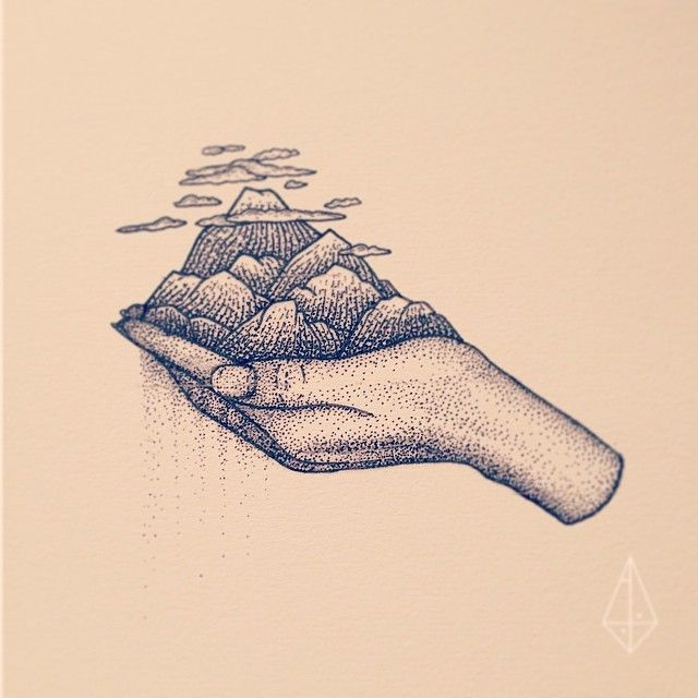 "The ""dotted"" art style is interesting and gives the picture a unique quality. Literal representation of ""He's got the whole world in his hand"""