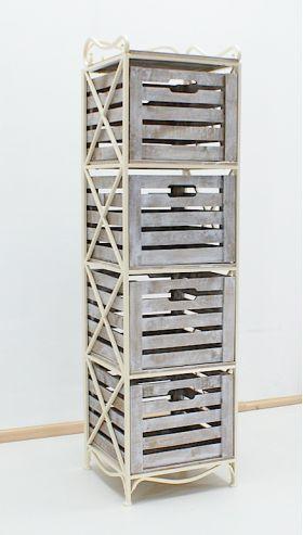 Кованая мебель :: Мебель `Лофт`, `Кантри`, `Прованс` :: Пеналы, скамьи, этажерки. :: Пенал с металлическим каркасом на 4 ящика вертикальный 005/Э4ВВ/168