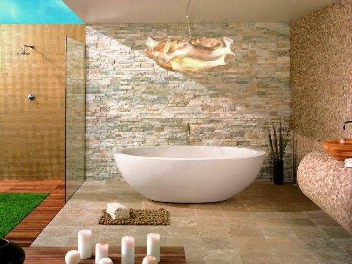 ideen wandgestaltung badezimmer wanddesign ideen steine badewanne ... - Wandgestaltung Im Badezimmer
