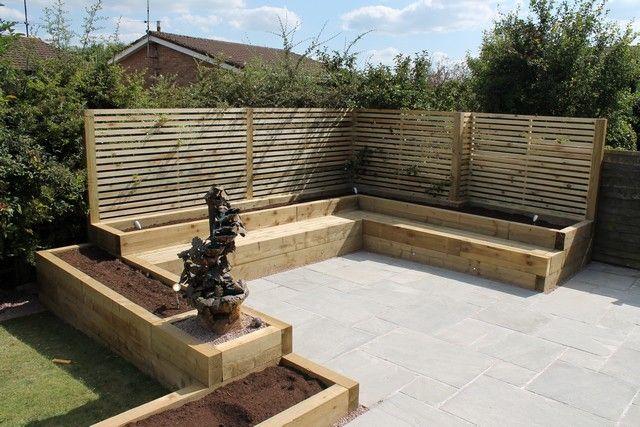 Image result for corner garden seating area
