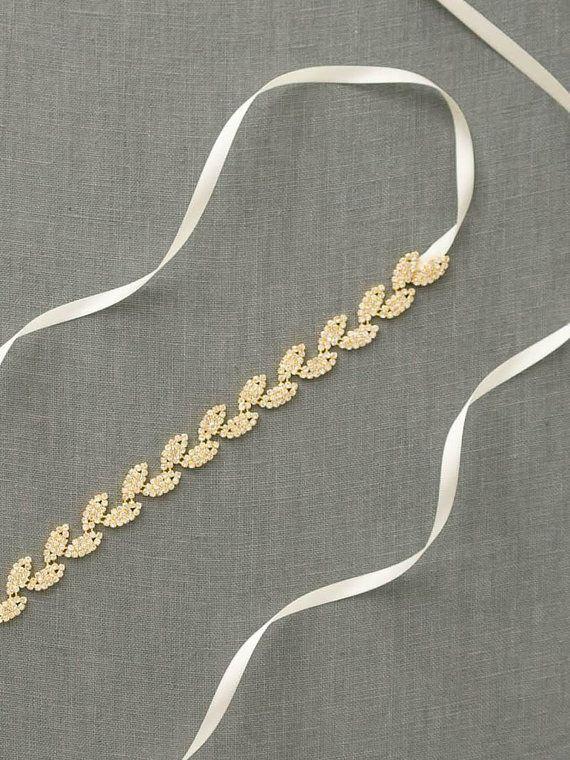 Gold Leaves Bridal Belt | Gold Skinny Wedding Belt | Gold Leaf Rhinestone Sash Belt [Gilded Ivy Sash]