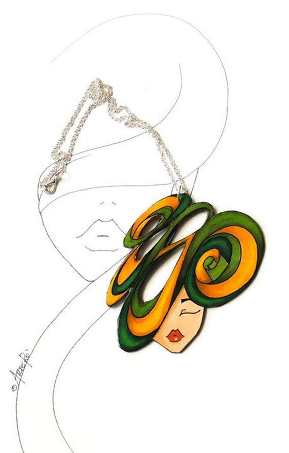 Statement Necklace  Green Pendant Recycled Necklace  by TheRollyS