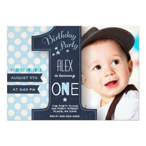 Boy's Chalkboard Birthday Invitations First Birthday Party Invitation Boy Chalkboard