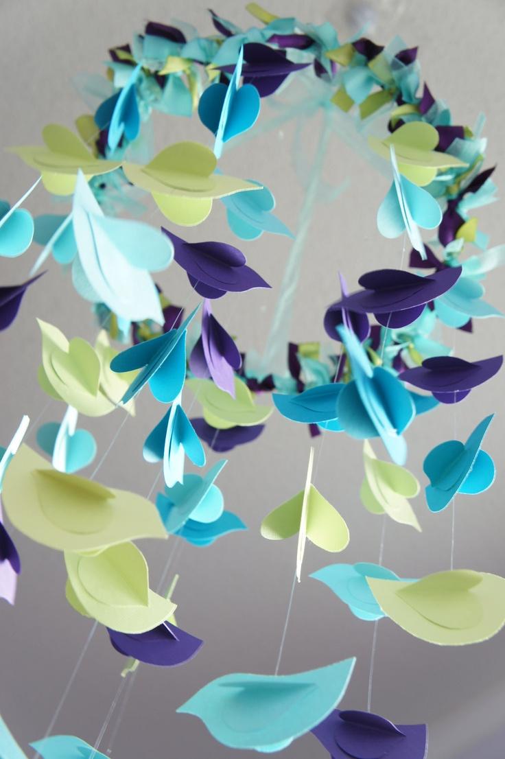 Bird Mobile- Aqua, Blue, Green, & Purple Nursery Decor
