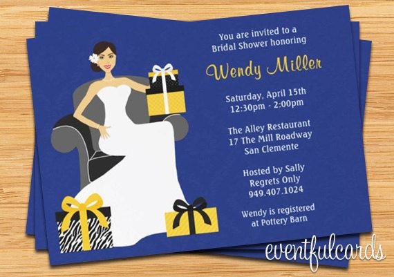 Navy and Yellow Bridal Shower Invitation  5x7  by eventfulcards