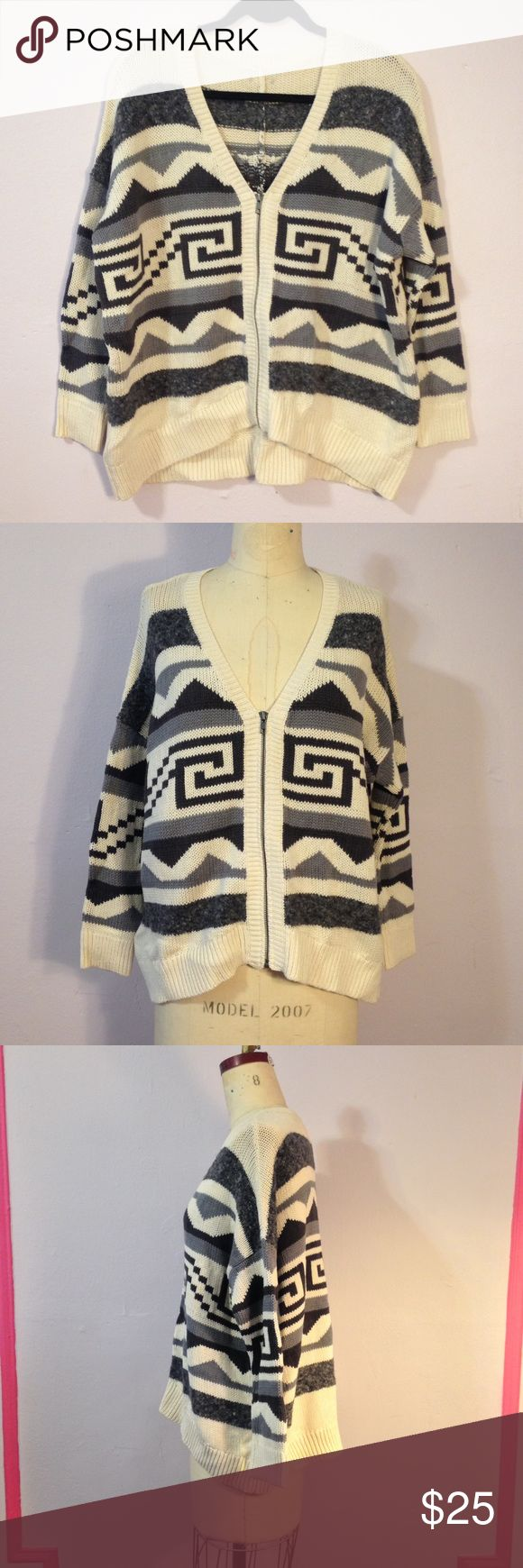 Urban Outfitters Aztec Zip Up Sweater Jacket S/M/L Cute and comfy oversized zip up sweater from Urban Outfitters. Cute Aztec jacquard design! Missing Label. Never worn. Best fits a size Medium or Large. Looks great on a size small as a baggy look. Kimchi Blue Sweaters Cardigans