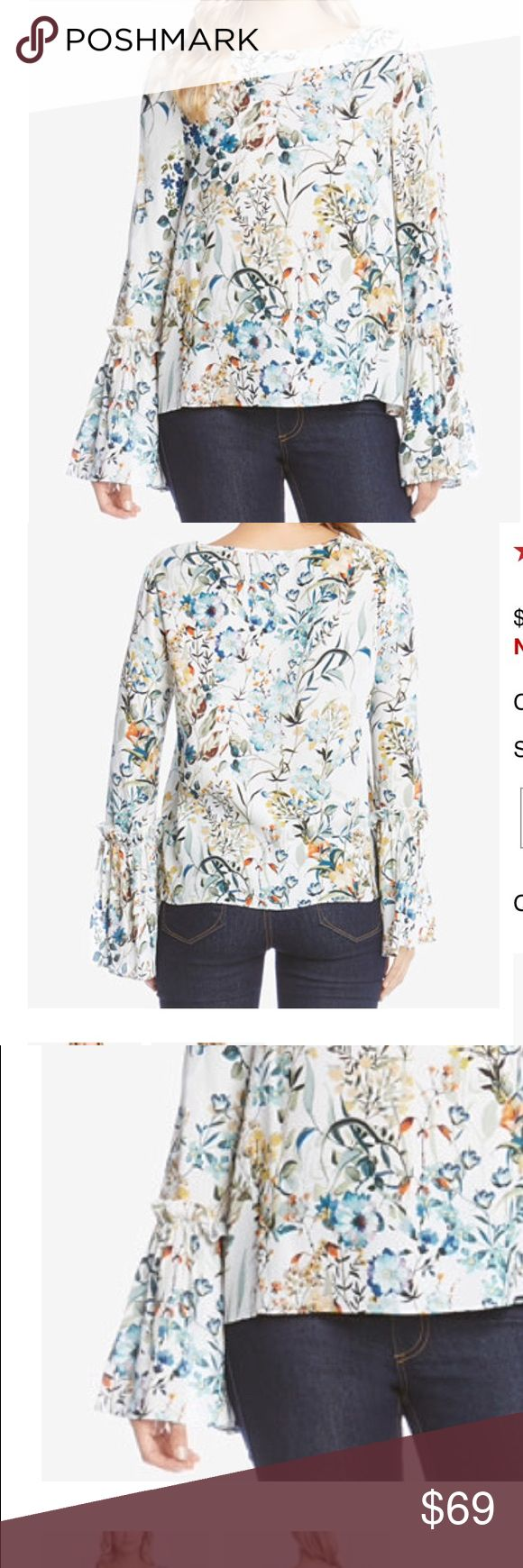 """NWT KAREN KANE PRINTED BELL SLEEVE TOP Bell sleeves is a right now look when wear this lovely top. Tie detail and ruffled trim accentuate the bell flare for a pretty finish. Boat neckline  Long bell sleeves, ruffle trim at tie detail at cuff. Approx 23""""length  Viscose dry clean. Karen Kane Tops Blouses"""