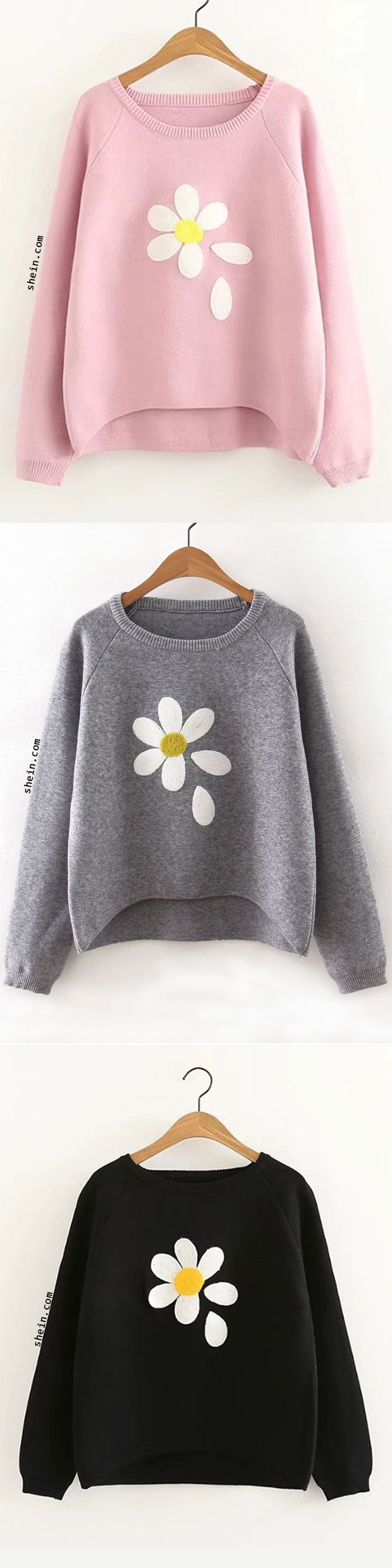 Flower Print Raglan Sleeve Dip Hem Sweater