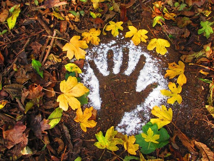 Flour handprints