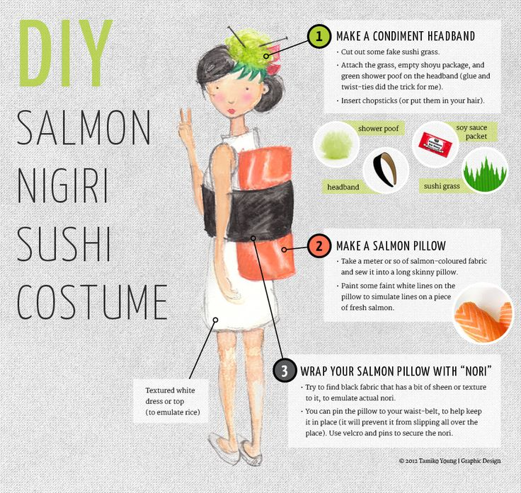 DIY sushi costume - Tamiko Young | Graphic Design (love the headband instruction ideas!)