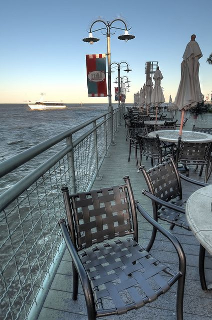 Waterfrount dining at Kemah, Texas, overlooking Galveston Bay