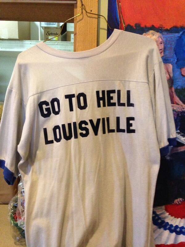 """Vintage """"GO TO HELL LOUISVILLE"""" shirt from the 80's. MEMPHIS v. LOUISVILLE game is Sat., March 1, 2014 @ FedExForum in Memphis. An old historic college basketball rivalry has been renewed & the HATRED is as STRONG AS EVER!! : ) #GoTigersGo #BEATlouisville #TigersEatCardinals"""