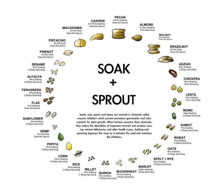 Another FANTASTIC Soaking and Sprouting Chart. For healthy digestion, all nuts, grains, and seeds should be soaked to remove the enzyme inhibitors and activate the full nutritional potential of the food.
