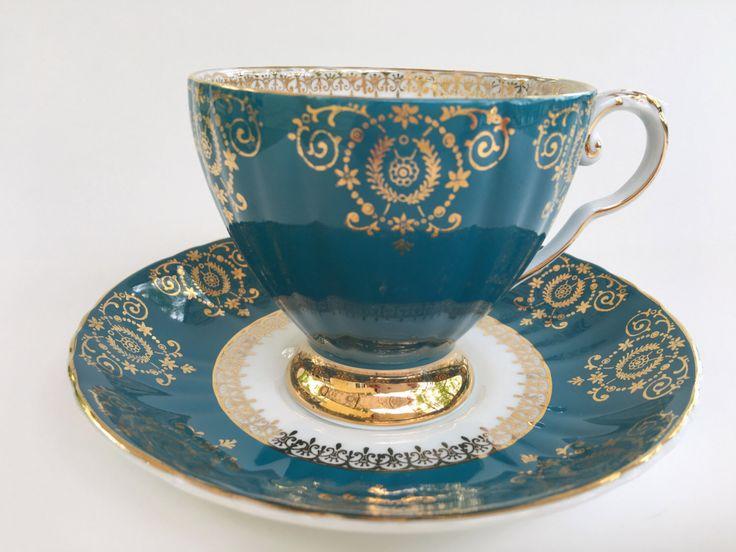 Antique Royal Grafton Tea Cup and Saucer, Aqua Gold Cups, Vintage Tea Cups, English Teacups, Tea Party, Tea Set, Bone China Cups by AprilsLuxuries on Etsy https://www.etsy.com/listing/295306567/antique-royal-grafton-tea-cup-and-saucer