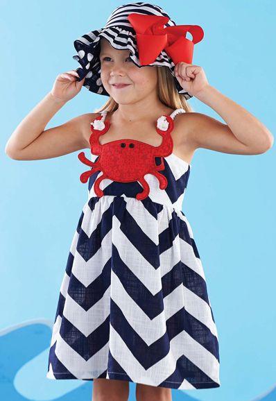 4th of July, crab applique, dress